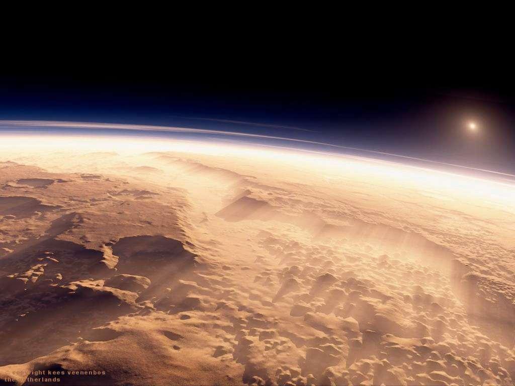 L'atmosphère martienne, aujourd'hui ténue, a sans doute été plus épaisse dans le passé, à une époque où la planète était probablement plus accueillante pour la vie. Elle sera l'objet d'études par la première sonde indienne autour de la Planète rouge. © Kees Veenenbos