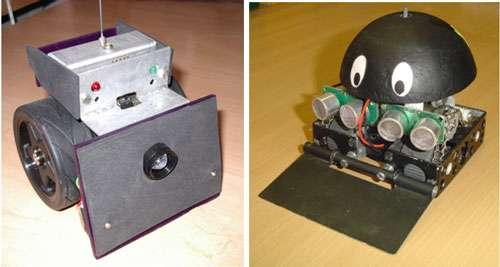 Sur les minirobots à l'image, les capteurs de détection installés à l'avant sont utilisés pour déterminer l'emplacement des obstacles afin de les éviter. © Frédéric Giamarchi