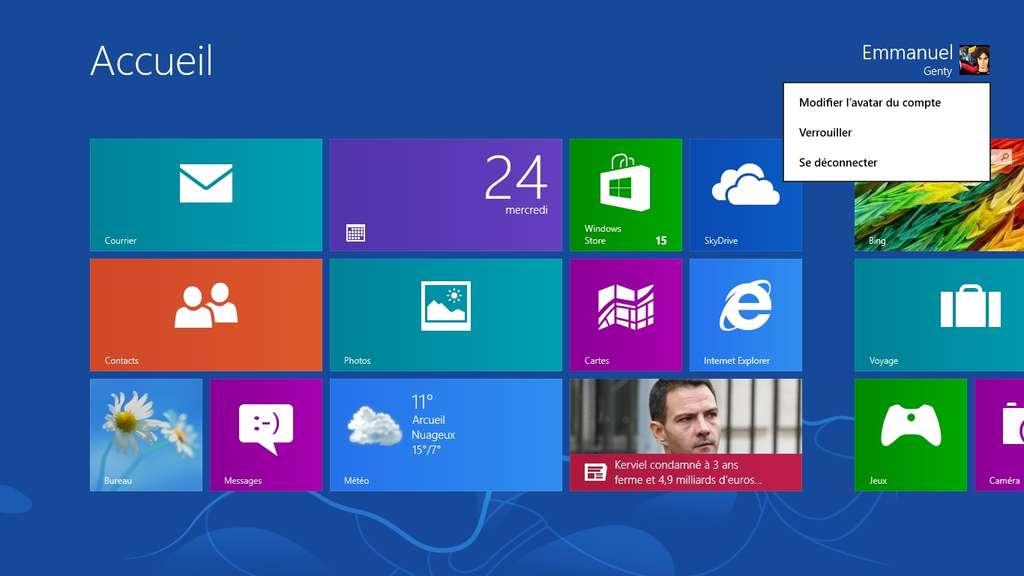 L'écran d'accueil de Windows 8 donne accès aux réglages du compte d'utilisateur. Celui-ci est désormais confondu avec un compte Windows Live. © Eureka Presse
