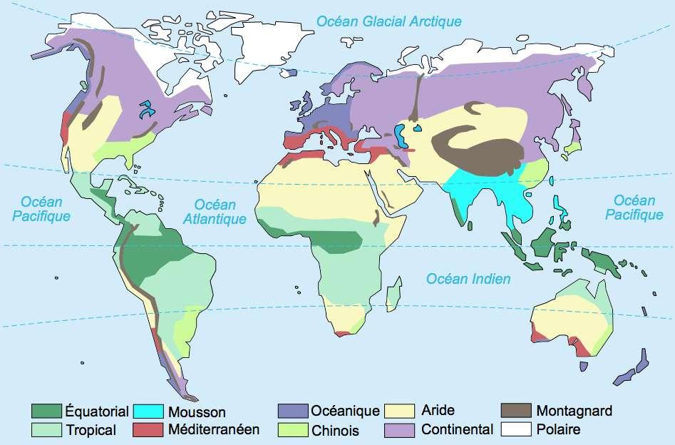 Sur cette carte, les zones de climat continental (violet clair) sont essentiellement localisées dans l'hémisphère nord. © historicair, Wikipédia, CC by-sa 3.0