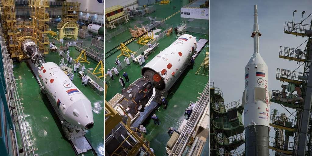Quelques jours avant son lancement, la capsule Soyouz est mise sous la coiffe de son lanceur. © Nasa