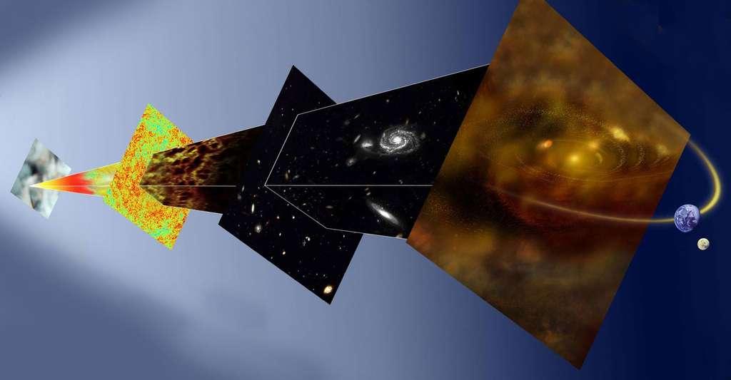 Planck est une véritable machine à voyager dans le Temps, qui devrait nous permettre de remonter loin dans l'histoire de l'univers observable, nous donnant de précieux renseignements sur son évolution depuis le Big Bang. © ESA