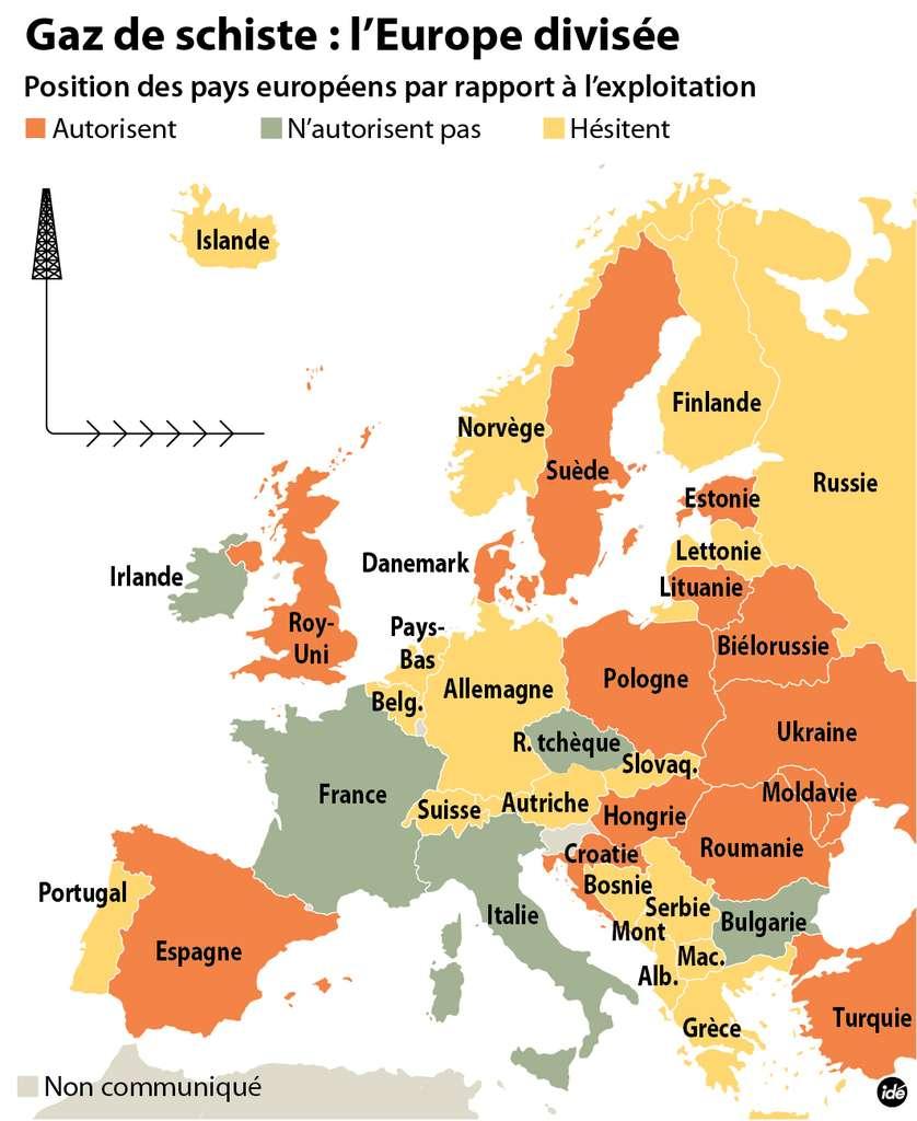 Dans l'Union européenne, les avis sont partagés sur la conduite à tenir devant les risques environnementaux et les gains économiques liés à l'extraction des gaz de schiste par fracturation hydraulique de roches à grande profondeur. Quelques pays, comme la France, l'interdisent. D'autres l'autorisent, et certains hésitent encore ou cherchent à la réglementer strictement, comme l'Allemagne. © Idé