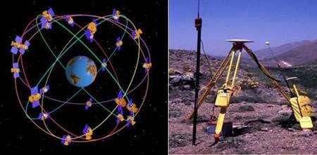 """Le système GPS est basé sur un ensemble de satellites en orbite autour de la terre (à gauche) qui envoient en continu des signaux vers le Terre. Au sol des capteurs constitués d'une antenne et d'un récepteur enregistrent les signaux envoyés par les satellites (à droite). Le traitement de ces données permet de localiser avec précision les points où se situent les capteurs - A lire le dossier : """"Topographie : découvrir le fonctionnement du GPS"""""""