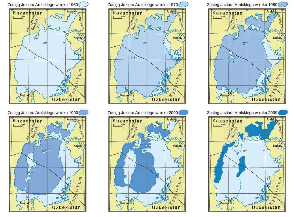 Changements d'aires de mer d'Aral au cours des dernières années. © Maciej Zieliński, Wikimedia commons, CC 4.0 international