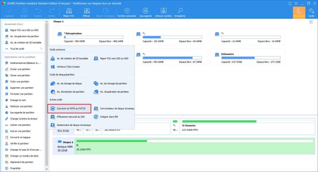 L'outil de modification du système de fichiers se situe dans le menu «Tous les outils». © AOMEI
