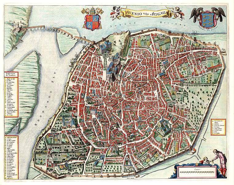 Plan d'Avignon gravé en 1649 pour l'Atlas Van Loo sur lequel on voit les parties manquantes du pont. © Domaine public