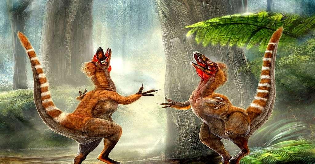 Deux Sinosauropteryx dans une forêt du Crétacé. © Chuang Zhao et Lida Xing
