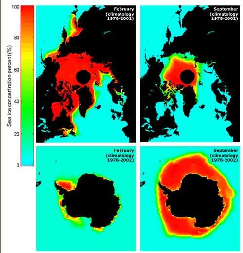 Moyennes climatologiques de février et septembre © NSIDC