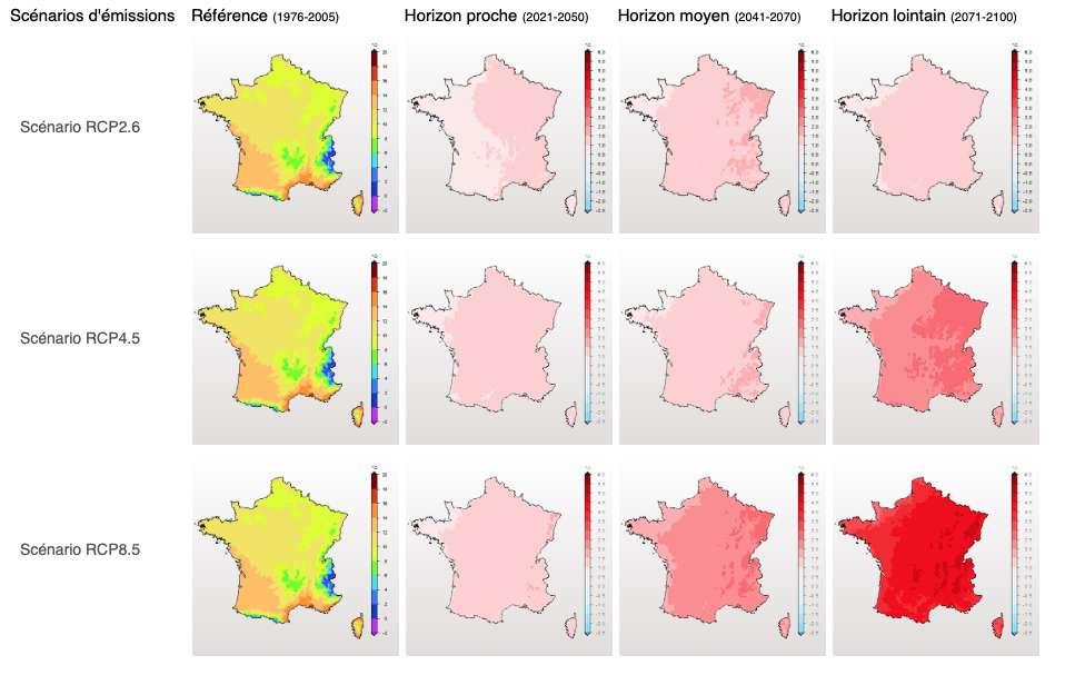 Les modèles développés à l'échelle régionale mettent en évidence les évolutions différentes de température sur le territoire de la France métropolitaine. Notez que le scénario RCP2.6 correspond à celui qui prend en compte les effets de politique de réduction des émissions de gaz à effet de serre susceptibles de limiter le réchauffement planétaire à 2 °C. Le scénario RCP8.5 est le plus pessimiste. Le scénario RCP4.5 correspond à un scénario intermédiaire. Quel que soit le scénario, l'Alsace, par exemple, devrait se réchauffer plus que la moyenne à moyen terme. © Météo France