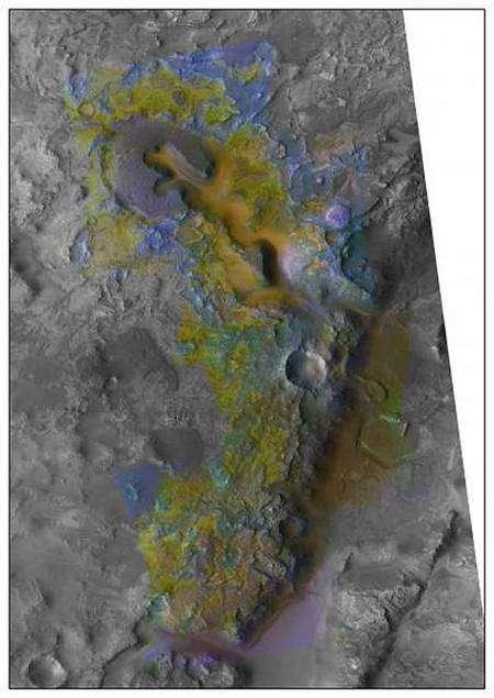 La région de Nili Fossae, vue par MRO. Traces d'olivines (jaune), d'argiles riches en smectites (bleu) et de carbonates (vert). Credit: NASA/JPL/JHUAPL/University of Arizona/Brown University