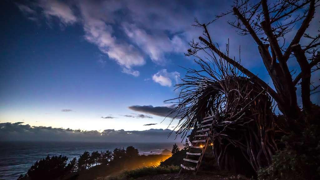 Une hutte en forme de nid d'oiseau en guise de couchage au Treebones Resort. © Treebones Resort