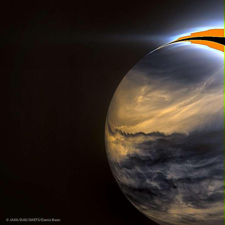 Vénus, côté nuit, vue par la caméra IR2 de la sonde Akatsuki. Les nuages sombres bloquent le rayonnement infrarouge des couches inférieures plus brillantes. © Jaxa, Isas, Darts, Damia Bouic