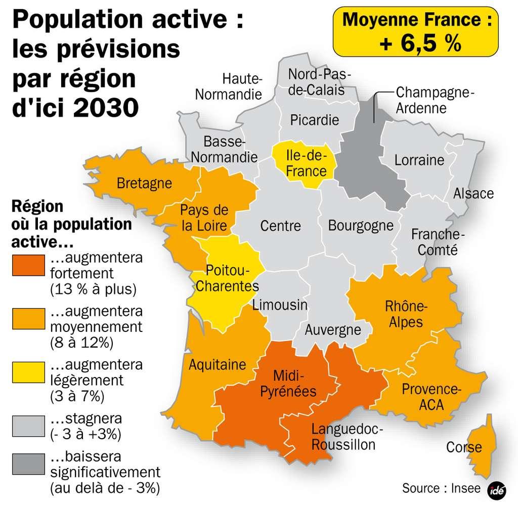 Estimation du pourcentage d'augmentation de la population active en 2030, par région française. © idé