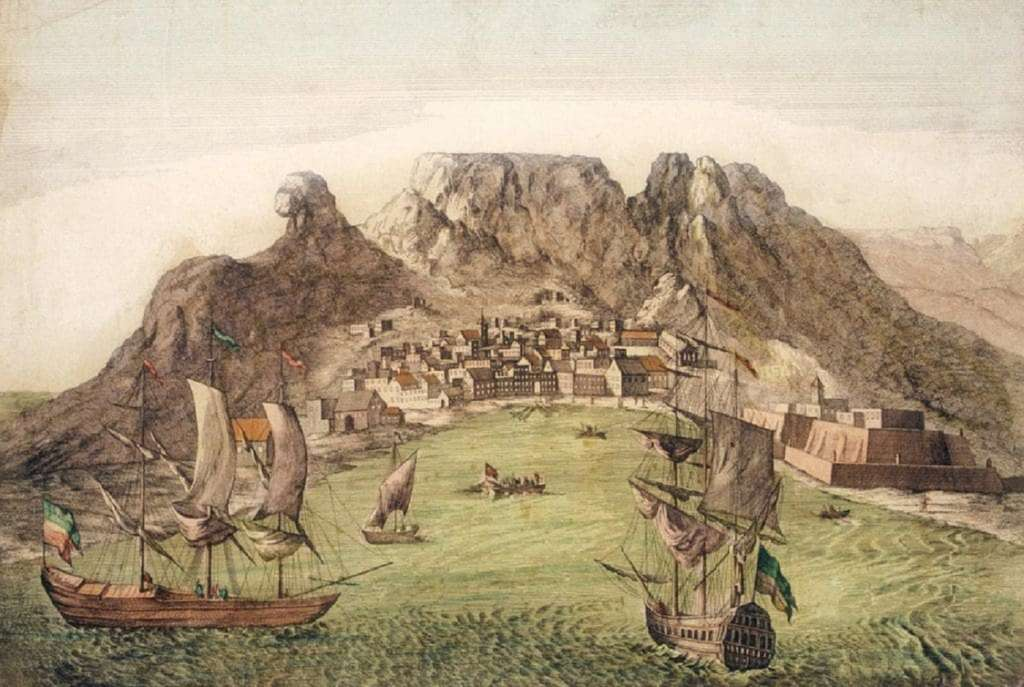 Baie du Cap vers 1780. © Iziko Museums of South Africa.