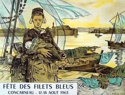 Affiche pour la « Fête des Filets bleus » de 1906 (reprise pour la Fête des Filets bleus de 1963) d'Achille Granchi-Taylor. © Henri Moreau, Wikimedia Commons, domaine public