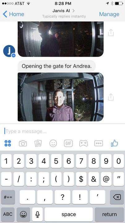 L'une des compétences de l'IA Jarvis est sa faculté d'identifier les amis de la famille Zuckerberg qui se présentent à leur porte. © Facebook