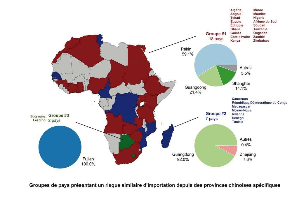 Les pays africains regroupés selon leur risque similaire d'importation depuis des provinces chinoises spécifiques. © Inserm