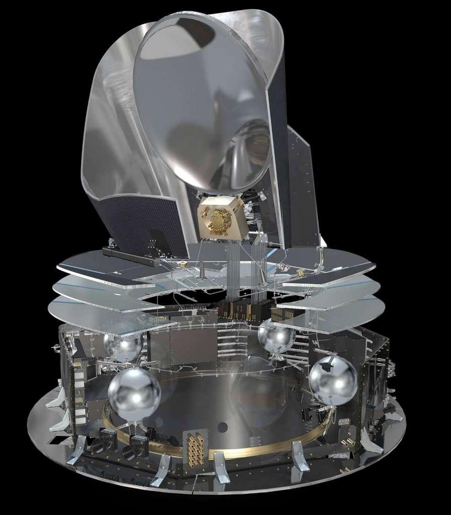 Vue en coupe du satellite Planck. © Esa, AOES Medialab