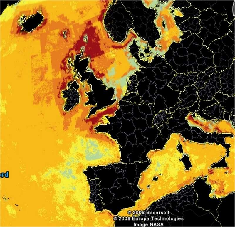 Carte centrée sur la France, obtenue avec Google Earth et le module téléchargeable fourni par l'équipe. © B. S. Halpern