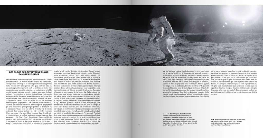 Des panoramas à couper le souffle, reconstitués par Olivier de Goursac à partir des photos prises sur la Lune, illustrent l'ouvrage Apollo : l'histoire, les missions, les héros. © Flammarion