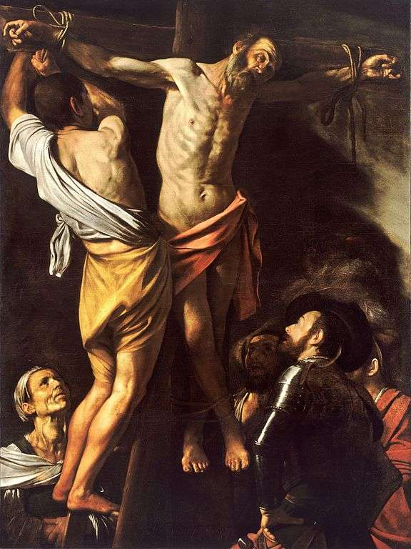 Un argument de plus en la faveur du diagnostic des médecins : les goitres, symptômes d'une maladie de la thyroïde, sont souvent représentés dans les peintures de l'époque, comme ici dans Le Crucifiement de saint André (1607) par Caravage. On peut en effet remarquer une protubérance au niveau de la gorge de la femme en bas à gauche. © Wikimedia Commons, DP