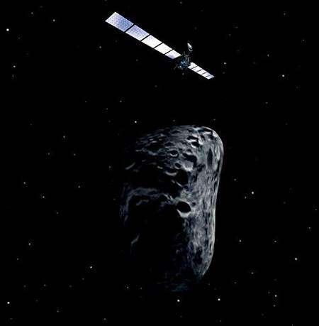 Rosetta en approche de l'astéroïde Steins (vue d'artiste). Crédit Esa