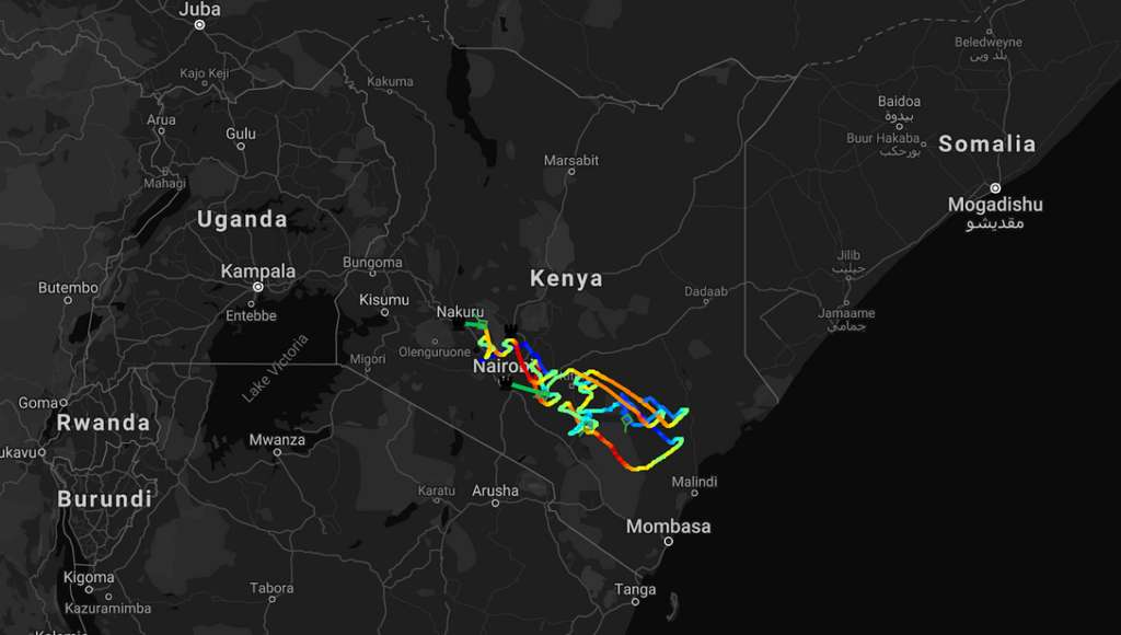 Voici le cheminement des ballons d'Alphabet sur la zone cible au Kenya. © Huard