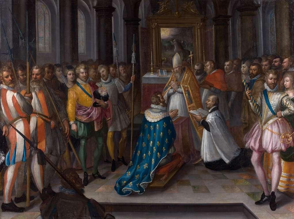 Cérémonie d'abjuration d'Henri IV, le 25 juillet 1593, en la Basilique Saint-Denis. Tableau de Nicolas Baullery, musée d'art et d'histoire de Meudon. © Domaine public.