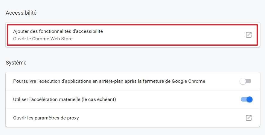Cherchez la section « Accessibilité » dans les paramètres avancés et cliquez sur « Ouvrir le Chrome Web Store ». © pxhere.com