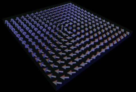 Organisation en forme de vortex (tourbillon) des vecteurs d'aimantation d'un matériau en 2D (Crédits : University of Lancaster).