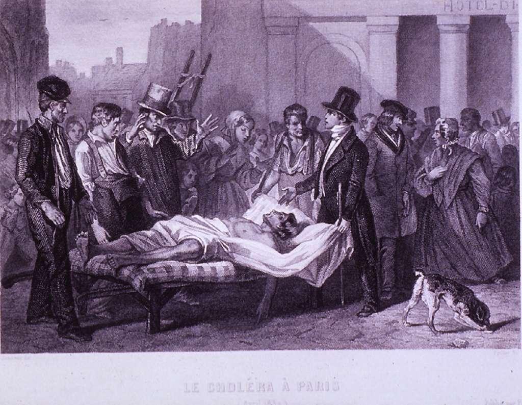 """""""Le choléra à Paris"""" par Philippe Auguste Jeanron en 1832. National Library of Medicine, USA. © The National Library of Medicine, domaine public."""
