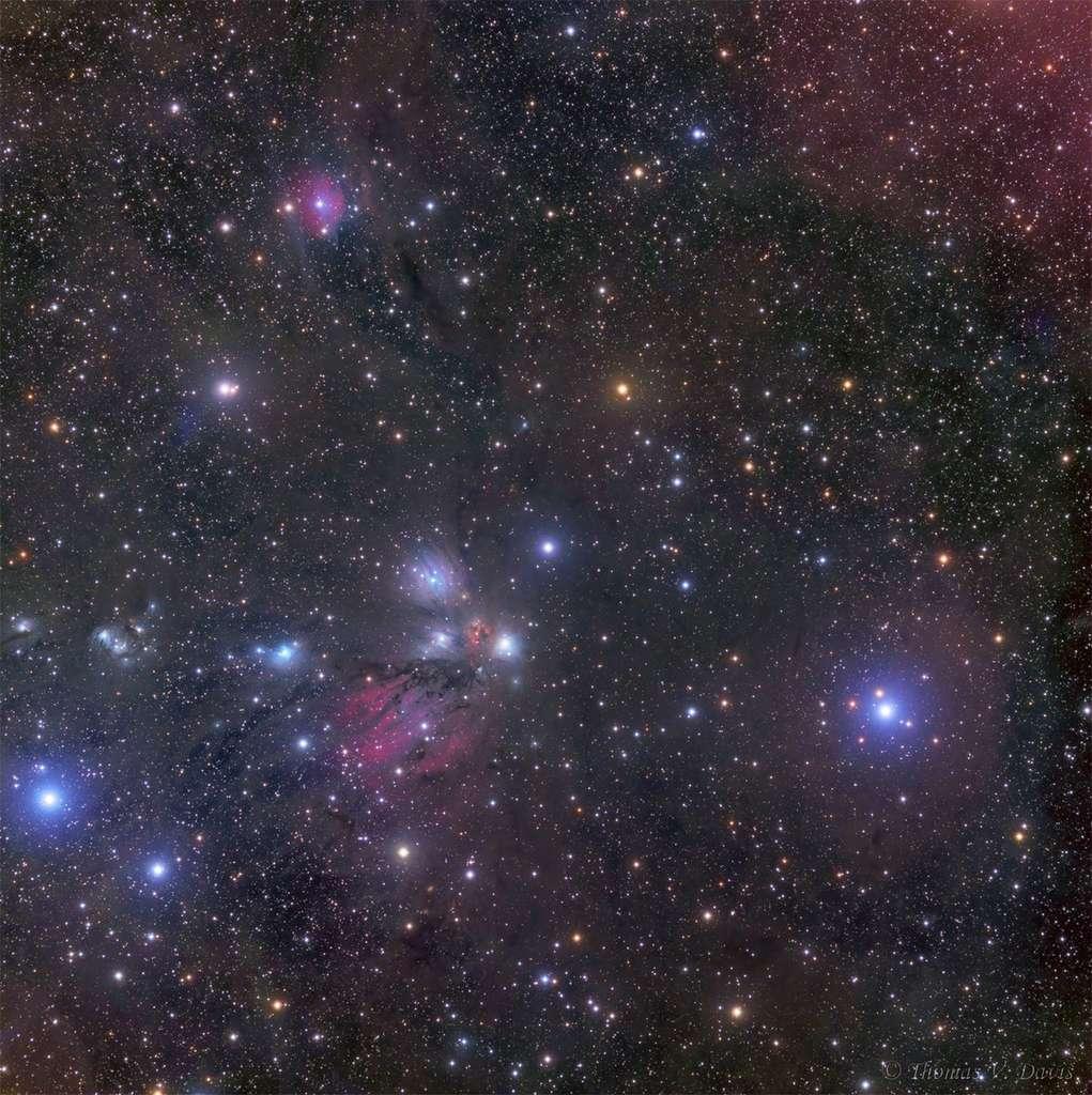 Observée dans le visible, la constellation de la Licorne ne montre qu'une partie de ses trésors enfouis dans un immense nuage de gaz et de poussières. © Thomas V. Davis