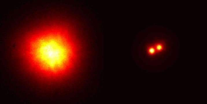 Sans optique adaptative (à gauche), certaines étoiles doubles, comme celle que l'on voit ici, ne sont pas résolues quand on forme leur image à l'aide d'un télescope. Avec l'optique adaptative (à droite), les choses peuvent changer car elle permet parfois de distinguer les 2 composantes de ces étoiles doubles. © ESO, Obspm