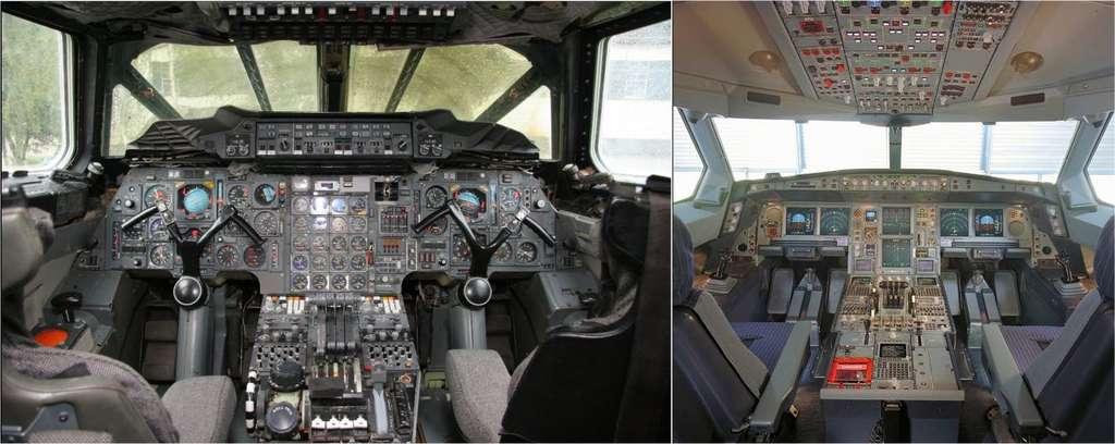 À gauche, le cockpit du Concorde. À droite, celui de l'Airbus A340. L'évolution des avions est beaucoup plus visible à l'intérieur du poste de pilotage. © DR et Airbus