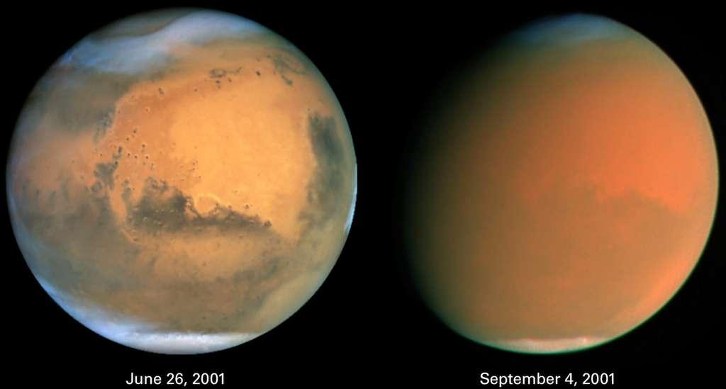Le télescope spatial Hubble offre ici deux vues de la Planète rouge. On y découvre Mars, avant (image de gauche) et pendant (image de droite) la grande tempête de poussières de l'été 2001. © Nasa, Wikipédia, DP