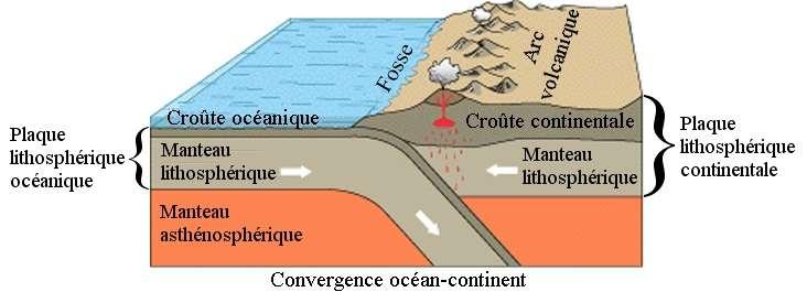 Schéma d'une zone de subduction. © Wikimédia Commons