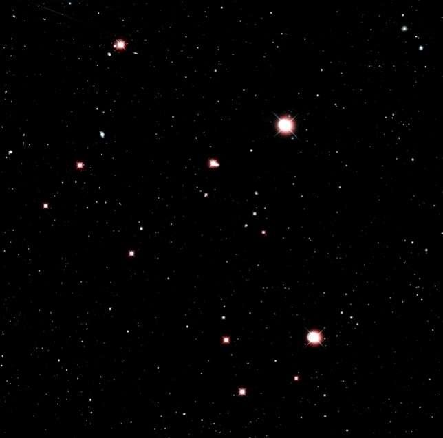 Voici une image dans le visible d'une zone de la voûte céleste montrant de nombreuses étoiles et galaxies. © Lofar Radio Galaxy Zoo, Observatoire de Paris - PSL
