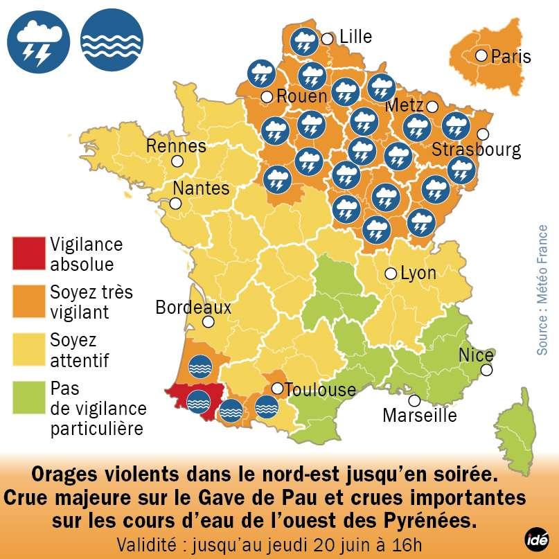 L'état de vigilance absolue de crue est maintenu au moins jusqu'à jeudi 20 juin en fin d'après-midi, pour le département des Pyrénées-Atlantiques. Les Landes sont en vigilance orange, mais on attend aujourd'hui une pointe de crue en aval du Gave de Pau. Les cellules orageuses se sont toutefois dirigées vers le quart nord-est de la France. © Idé
