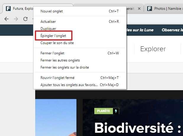 Faites un clic droit et choisissez « Épingler l'onglet ». © Google Inc.