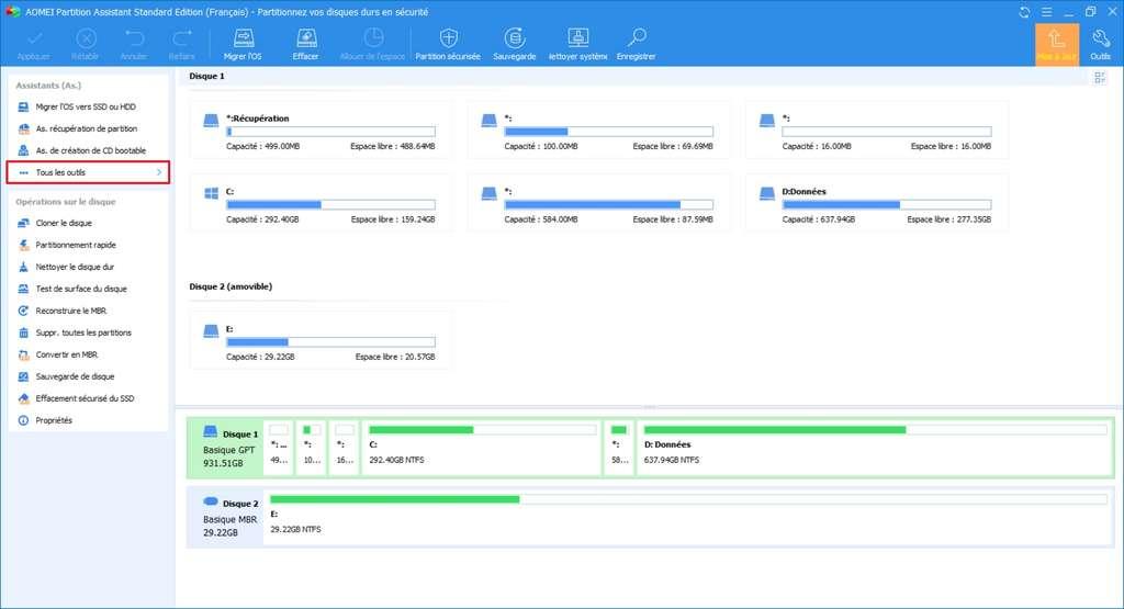 Partition Assistant affiche toutes les partitions des périphériques de stockage connectés à l'ordinateur. © AOMEI