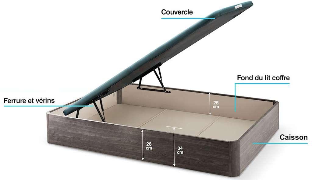 Lit-coffre tapissé disponible en dimensions standard ou sur mesure. Structure en MDF, dessus monté sur vérins. © « Horus », Maxcolchon