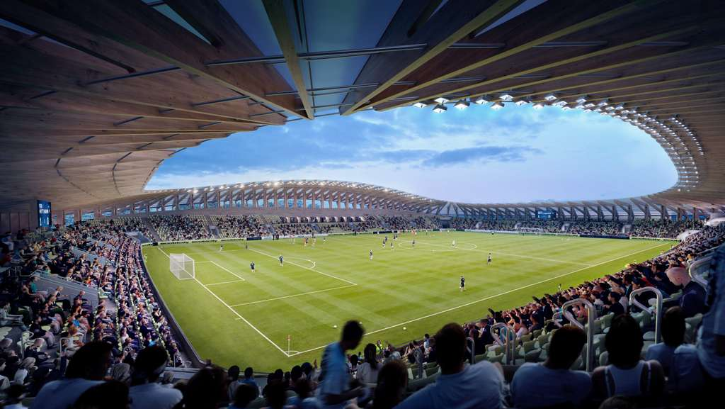 Le premier stade au monde construit en bois. © Courtesy of Zaha Hadid Architects, Negativ