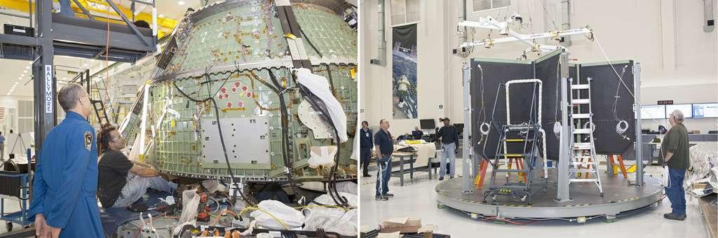 État d'avancement de l'assemblage et de la construction d'Orion sous le regard de l'astronaute Donald Pettit (mars 2013). À droite, la structure interne de la capsule qui servira à la raidir. © Nasa, Dimitri Gerondidakis