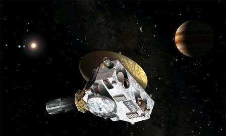 New Horizons passera au plus près de Jupiter en février 2007 La sonde trouvera dans le système jovien une assistance gravitationnelle En attendant ce rendez-vous, New Horizons s'est entraînée à traquer une cible mouvante (Crédits : Southwest Research Institute, Dan Durda/JHU Applied Physics Laboratory)