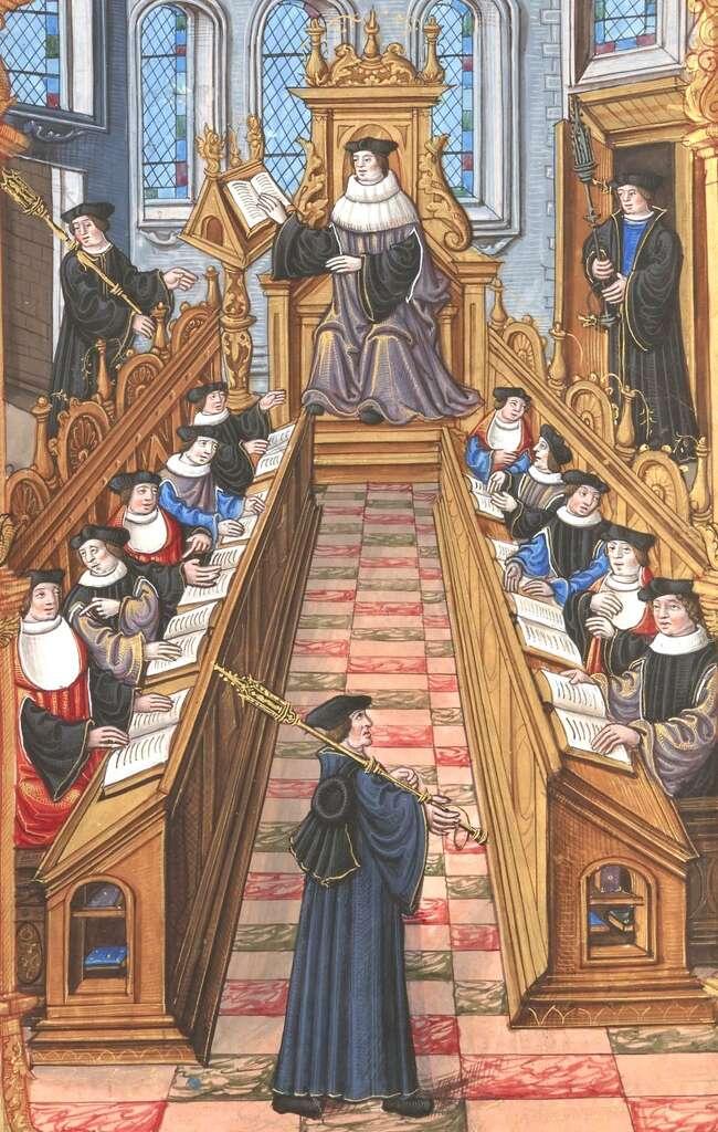 Réunion de docteurs de l'université de Paris, XIVe siècle. Bibliothèque nationale de France. © Domaine public