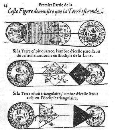 À ombre ronde, Terre ronde. Tel fut le raisonnement de l'astronome Apian au XVIe siècle. Lors d'une éclipse de Lune, on peut observer l'ombre ronde de la Terre sur la Lune. Un moyen (connu depuis l'antiquité) parmi d'autres de démontrer la rotondité de notre planète. © Bibliothèque de l'Observatoire de Paris