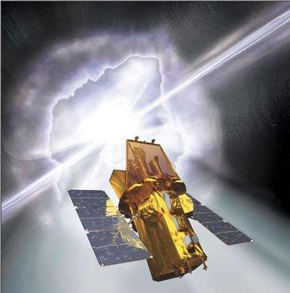 Vue d'artiste du satellite Swift, actuellement en service.