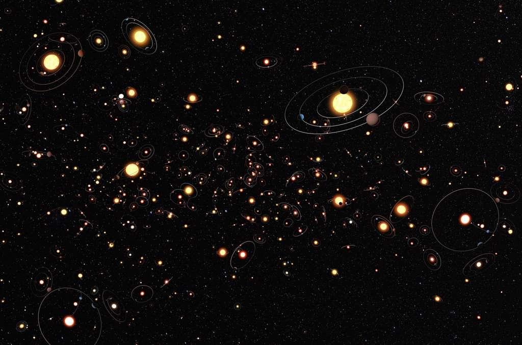 Illustration d'étoiles entourées d'exoplanètes. Il y en a en pagaille dans notre galaxie et toutes les autres. Mais combien sont similaires à la Terre? Combien sont habitées? © Nasa, ESA