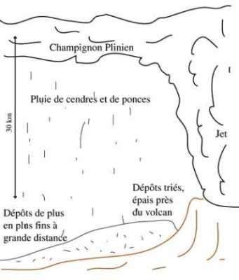 Le panache plinien et les dépôts associés © Kaminski, IPGP.